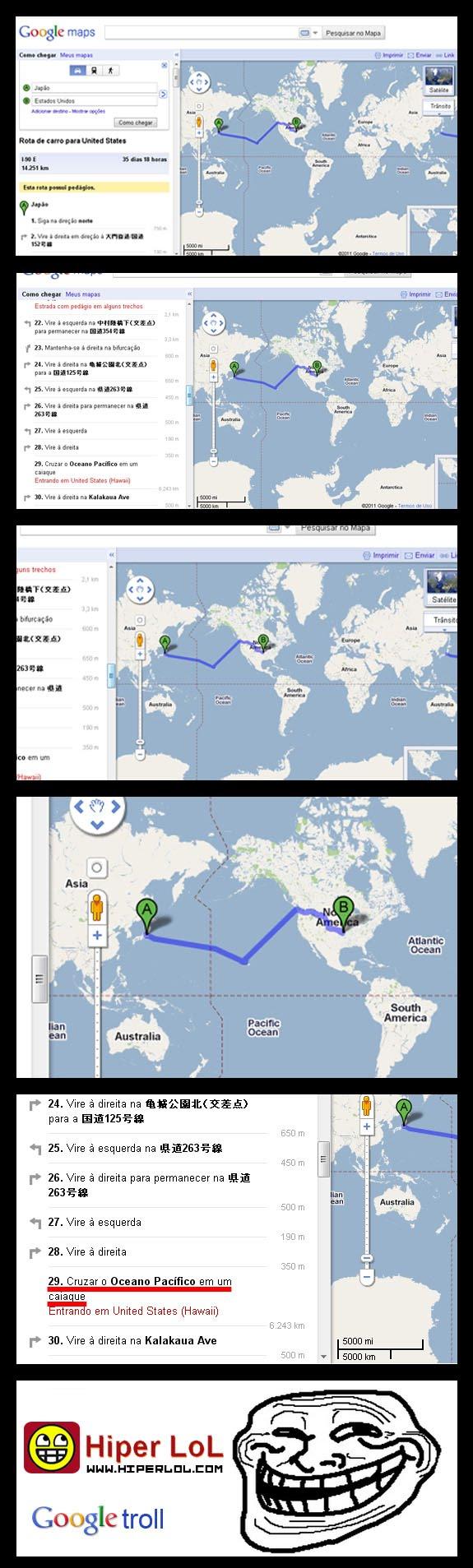 Japão até Estados Unidos no Google Maps
